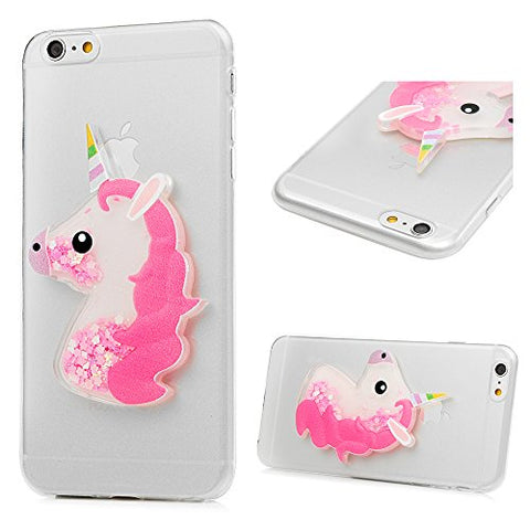 iPhone 6 Plus Case, iPhone 6S Plus Case, Crystal Clear Cute Unicorn 3D Bling Sparkle Glitter Quicksand Star Flowing Liquid Soft TPU Rubber for iPhone 6, 6S Plus with Dust Plug & Pen by YOKIRIN, Pink