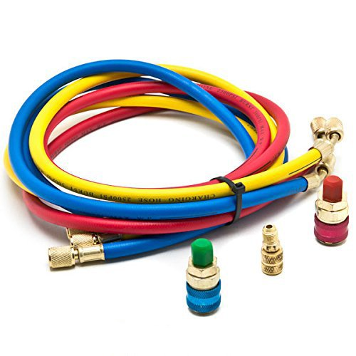 Goetland Diagnostic Manifold Gauge Kit for AC Refrigerant R12 R22 R502  HVAC, with R134a Adapter & Can Tap, 3 ft