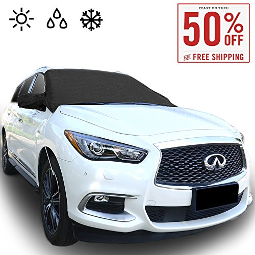 Chanvi Windshield Cover Snow Ice Frost Rain Resistant, Waterproof Windproof Dustproof Outdoor Car Covers-2 Color (black)