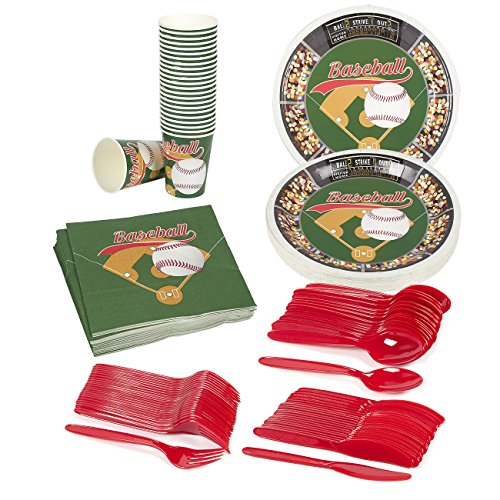 Disposable Dinnerware Set - Serves 24 - Baseball Party Supplies - Includes Plastic Knives, Spoons, Forks, Paper Plates, Napkins, Cups