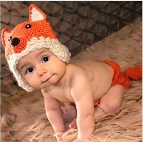 Silver Moonlight Cute Infant Newborn Unisex-Baby Crochet Beanie Hat Clothes Baby Photograph (Fox)