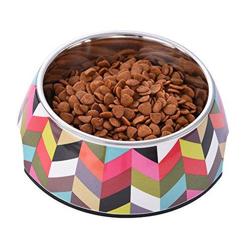 WIDEN Pet Dog Cat Supplies Bowl with Removable Melamine Stainless Steel Bowl