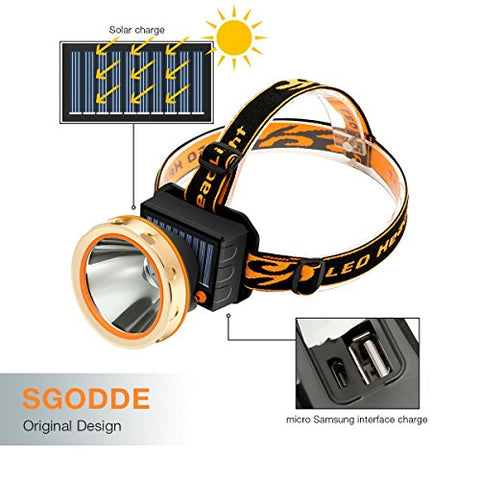Solar Rechargeable LED Headlamp with Power Bank,SGODDE Super Bright 3 Modes Waterproof Head torch Headlight,Adjustable Elastic Headband for Outdoor Hiking Camping Fishing Cycling Running Walking