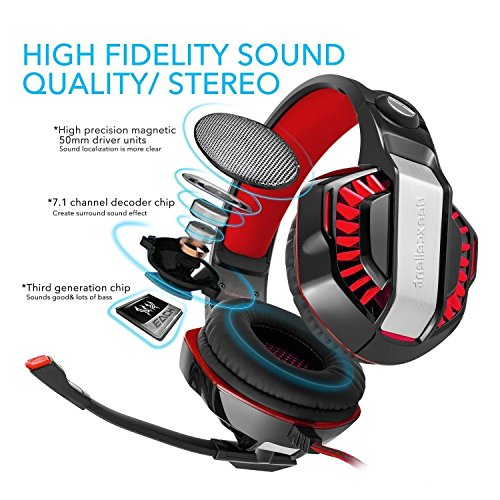 Gaming Headset, Beexcellent GM-2 Over-ear Stereo Bass Wired Hi-Fi Gaming  Headphones USB&3 5mm Noise Reduction with Microphone & LED Light for  Laptop,