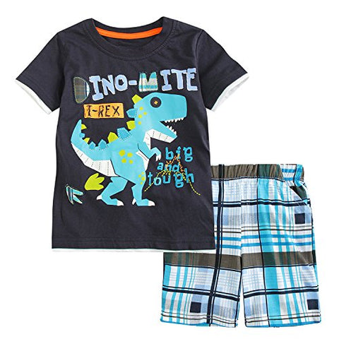 Sladatona Little Boys' Cotton Clothing Short Sets Summer Cotton Shirts Pants Toddler Clothes 4T