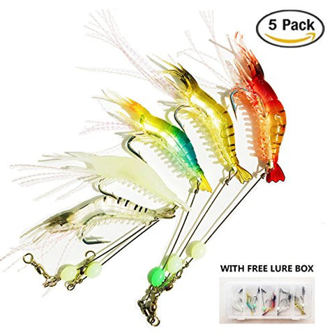 Heylure Artificial Silicone Soft Bait Set, Luminous Shrimp Fishing Lure with Hook Fishing Tackle, Freshwater Saltwater Night Fishing(5pcs/lot 8.5cm 6g) with Lure Box