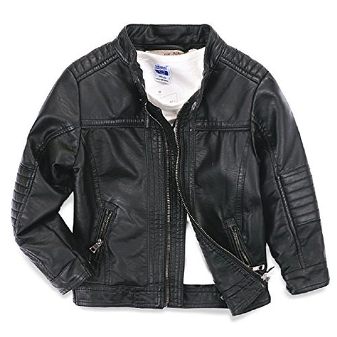 LJYH Boys leather jacket children's motorcycle leather zipper coat black 3-14T  Black  T5-6