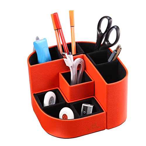 VPACK Magnet Desk Organizer - PU Leather Pencil Cup Holder Office Supplies Desktop Stationery Storage Box (Tangelo Orange)