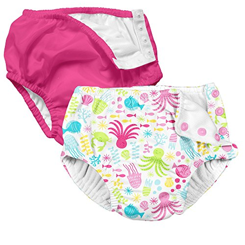 d42ee9712e 2 Pack Girls Reusable Baby Swim Diapers Swim Diapers Hot Pink and Sea