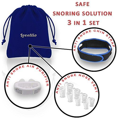 Lovellio Snore Stopper Kit – Safe anti snoring devices  Set with 3 Natural Remedies – Anti Snore Nose Vent Aids, Adjustable Chin Strap Guard & Wearable Air Purifier Device Value Pack