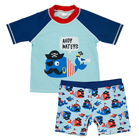 Baby Boys Two Pieces Swimsuit Set Kids Cartoon Animal Swimwear Rashguard Bathing Suit UV Sun Protective Blue 3T