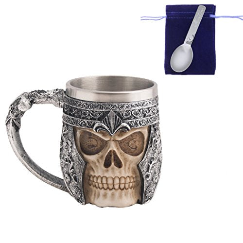 Gothic 3D Skull Coffee Mug -- Stainless Steel Drinking Cup Mug for Beverage,Coffee,Beer,Blood Juice, Medieval Viking Warrior Skull Armor Drinkware Mug, Halloween Decor, Party Trick Cup