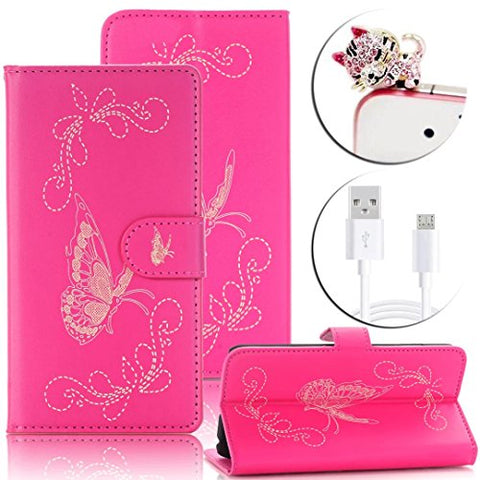 iPhone 6s Wallet Case,Vandot [Laser Carving] Gold Butterfly Luxury PU Leather Magnetic Flip Folio Stand Cover [Credit Card Holder] for Apple iPhone 6 6s 4.7 inch +Bling Dust Plug+USB Cable-Hot Pink