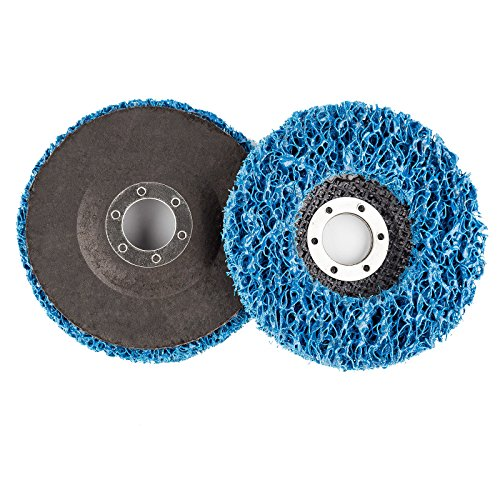 Easy Strip Discs 4 1/2'' x 7/8'' Non Woven Clean & Strip Discs Fiber Backing Car Paint Rust Oxidation Remover Silicon Carbide Course Metal wood Clean N Strip Disc Blue 5 Pack