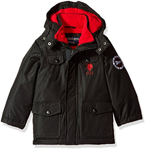 US Polo Association Little Boys' Outerwear Jacket (More Styles Available), UB49-Parka-Black, 5/6