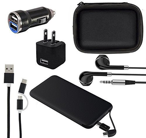 Mobile Phone Accessories 6 in 1 Travel Kit, Gift Set, Pouch Bag Case, Power Bank 5000mAh, Wall Charger, Dual Port Fast Car Charger, Headphones, Data Charging Cable Android Micro USB & iPhone iPad iPod