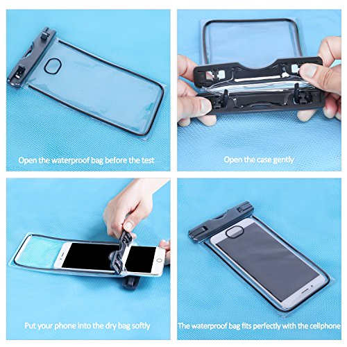 Universal Waterproof Case,SmartPhone Dry Bag Pouch Clear Sensitive PVC  Touch Screen for Apple iPhone X,8/7/7 Plus/6S/6/6S Plus, Samsung Galaxy  S9/S9