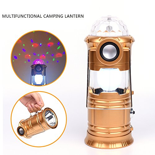 4-in-1 Multi-function Rechargeable LED Camping Light Lantern, Portable Outdoor Survival Ultra Bright Lamp Flashlight, Multi-Colors Disco Ball Stage Party Lights, Portable Bluetooth Speakers