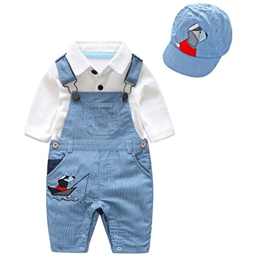 79e15a5b8 Boarnseorl 3 Pcs Toddler Baby Boys Long Sleeve White Onesie Blue Overalls  Outfit Suits With Cap