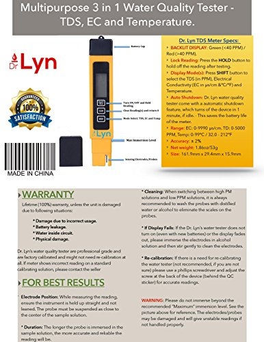 Dr  Lyn Digital 3 in 1 TDS Pen Zero Water Quality PPM Tester Meter For  Hydroponics Growing Reverse Osmosis System Aquaculture Colloidal Silver  Beer
