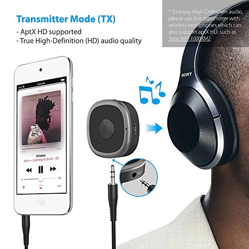 TROND Bluetooth V4 2 Transmitter Receiver with Volume Control, Microphone &  Codec Indicator (Latest CSR8675 Chipset), AptX HD for High Definition