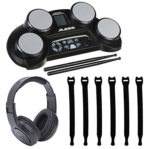 Alesis CompactKit 4 4-Pad Portable Tabletop Electronic Drum Kit with  Drumsticks & Built-In Learning Tools + Strapeez Cable Management + Samson  SR350