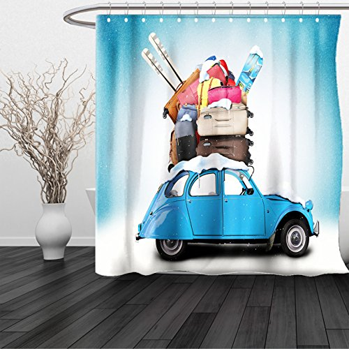 HAIXIA Shower Curtain Winter Traveling Themed Snowy Image Ski Baggage Items Blue Vintage Car Holiday Photograph