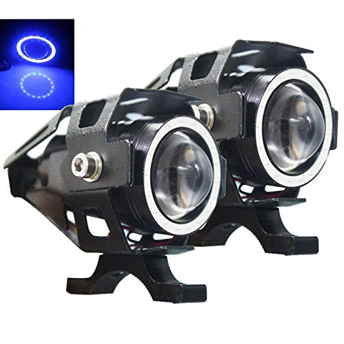 U7 LED Motorcycle Lights Blue Halo Angel Eyes Headlights Truck Spotlight ATV DRL Fog Lights Boat Driving Lighting Offroad Auxiliary Lamp Front Daylight 12v 24v High Low Beam Strobe w/ Switch