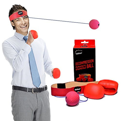 BOOM-TOO Boxing Reflex Ball Fight Practice Balls with Gloves Kit Great for Training and Fitness Office Stress Relief Improve Speed and Reactions for Adult/Kids Boxer Gym MMA Exercise