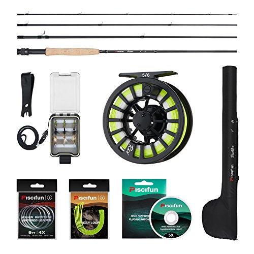 Piscifun New Fly Fishing Complete 5/6 Fly Fishing Rod and Reel Combos Starter Package fly fishing kit for beginners