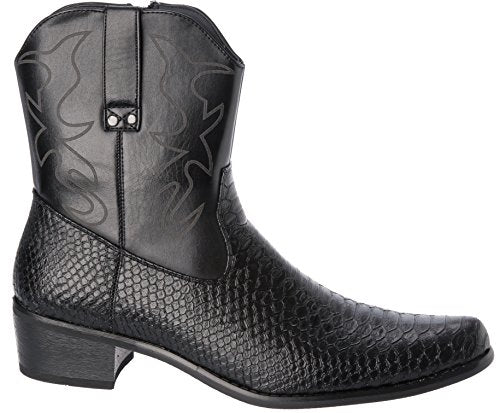 584f06406c1 Alberto Fellini Western Style Cowboy Boots Black New Upgrade primum  PU-Leather Shoes Size 12
