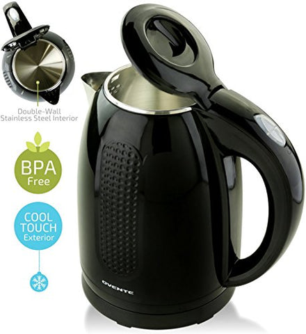 Ovente 1.7L Electric Kettle, Double Wall 304 Stainless Steel Water Boiler, Auto Shut-Off and Boil-Dry Protection, Stay-Cool Exterior, BPA-Free, Cordless, Black (KD640B)