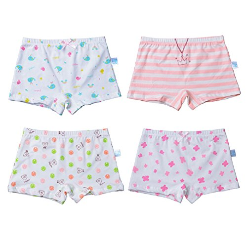 Goodkids Little Big Girls' Organic Breathable Trim Cotton Boxer Briefs Underwear Panties (M, 4-Pack)
