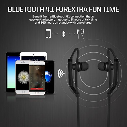 Bluetooth Headphones,Wireless Earbuds With Mic HD Stereo Noise Cancelling  Waterproof for Sport Running Adjust Ear Hooks Earphones,Compatible iPhone