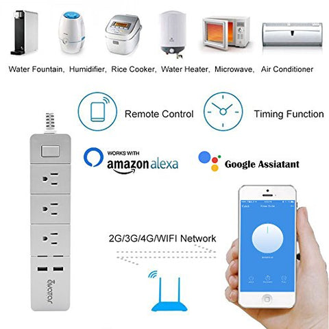 AvatarControls WiFi Smart Power Strip,Multi-Plug Outlet Timer Switch with 3 AC Outlets 2 USB Ports,Compatible with Alexa/Google Assistant,Remote Control ON/OFF Household Appliances(Individually)