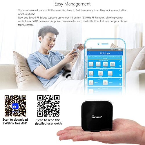 Sonoff 433MHz Wireless RF Switch WiFi IR RF Universal Remote Controls,  Smart Home Hub for Garage Door Android Apple