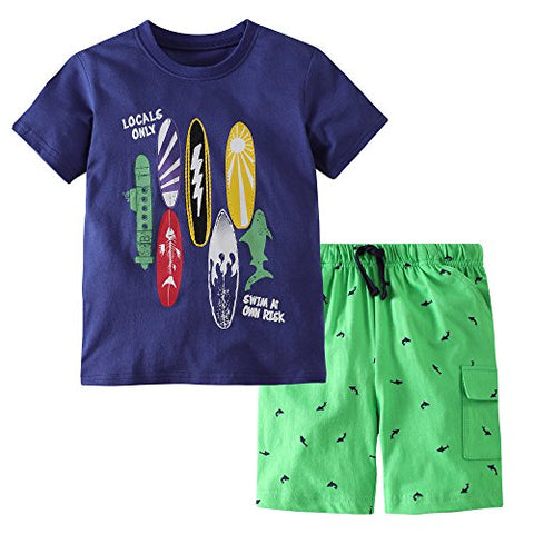 Fiream Boys Cotton Clothing Sets Summer Shortsleeve t-Shirts and Shorts 2 Pieces Clothing Sets(18038,5-6YRS)
