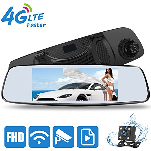 Mirror Dash Cam, Smart 4G Android Mirror Cam with 32G Card, DONGKER 7 0