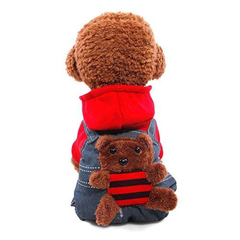 Stylish Red Pet Suspender Trousers with Hood Puppy Overall Warm Coat Little Bear Decoration Pet Dog Supplies
