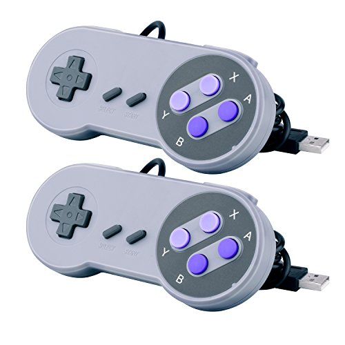 Quimat 2 Pack SNES Retro USB Super Nintendo Gaming Controllers Gamepads Joysticks for Windows PC/MAC AC440