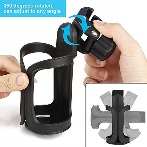 Upgrade Edition Bike Cup Holder, Stroller Drink Holders by Accmor ,360 Degrees Universal Rotation Cup Drink Holder for Baby Stroller/Pushchair, Bicycle Strollers , Wheelchair (2 packs)