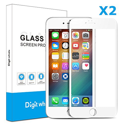 "2-Pack iPhone 6 6s Screen Protector, DIGITWHALE 3D Full Curve Soft Edge 0.2mm Tempered Glass Screen Protector for iPhone 6 and iphone 6s 4.7""-White"
