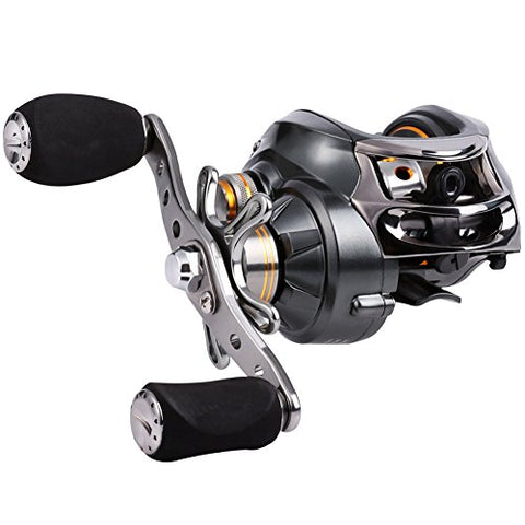 Low Profile Baitcasting Fishing Reels, 12 Stainless Steel Bearings, 18LB Super Drag, Magnetic Tuned Dual Brakes Baitcast Reel for Bass, Crappies, Perch, Trout, Walleyes and More