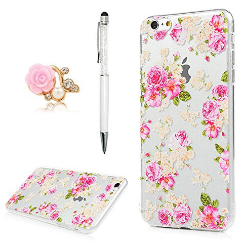 YOKIRIN iPhone 6 Plus Case,iPhone 6S Plus Case,Crystal Clear Ultra Slim Fit TPU Silicone Bumper Colorful Printed Flower Rose Anti-Scratch Non-slip Grip Flexible Skin Cover with Dust Plug & Pen
