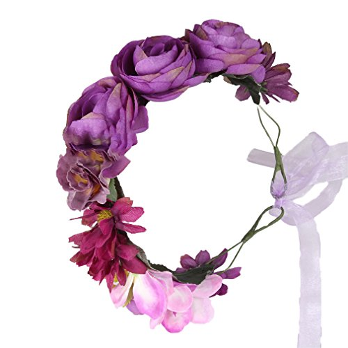Flower Crown boho Headband Wreath Rose Floral Garland for Wedding Purple Cereoth