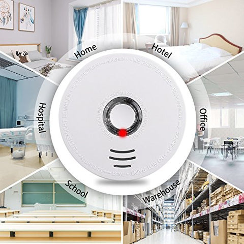 Smoke Alarm, Battery-Operated(Not Hardwired) Smoke and Fire Alarm with Test Button, 10 Years Photoelectric Smoke Alarm with UL Listed(9V Battery included)