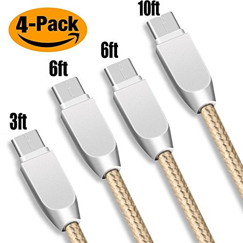 KMISS USB Type C Cable, 4-Pack (3FT 6FT 6FT 10FT) USB C to USB A Charger,  Nylon Braided Fast Charging Cord for Samsung Galaxy S9 S8 Note 8, Pixel, LG