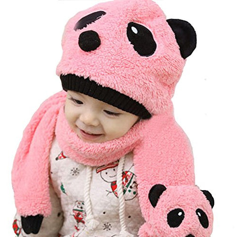 Chinatera Warm Cartoon Baby Fleece Panda Cap Hat Beanie with Scarf for 5-36M(Watermelon Red)