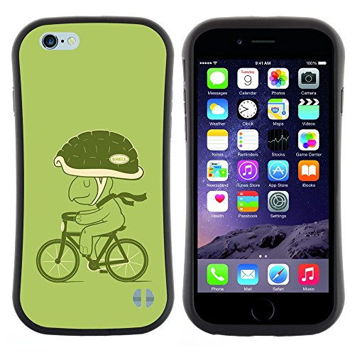 Pulsar iFace Series Soft TPU Skin Bumper Case Cover for Apple iPhone 6 / 6S (4.7 INCH) , Bicycle Green Lifestyle Turtle Eco Art Helmet