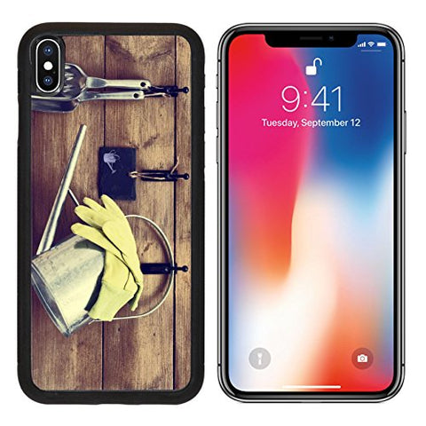 MSD Premium Apple iPhone X Aluminum Backplate Bumper Snap Case Garden tools hanging with watering can on shed door with vintage feel IMAGE 22079446